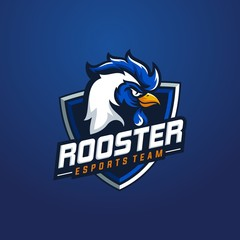 Rooster mascot sport logo design. Chicken rooster head mascot vector illustration