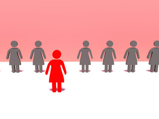 3d people- red woman front the crowd. 3d render illustration