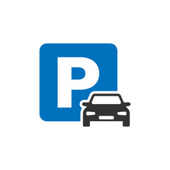Car parking icon in flat style. Auto stand vector illustration on white isolated background. Roadsign business concept.