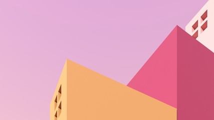Architectural background of buildings with stairs and arches. Bright castle, ancient housing against the pink sky - 3D, render. Banner, card for travel, presentations, advertising with copy space.