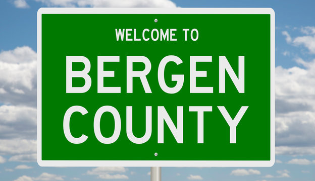 Rendering of a green 3d highway sign for Bergen County