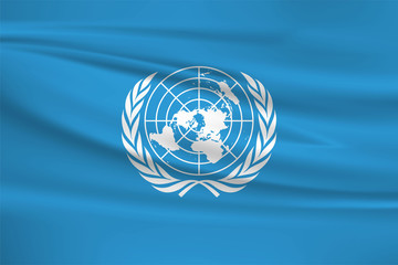 Illustration of a waving flag of the united nations