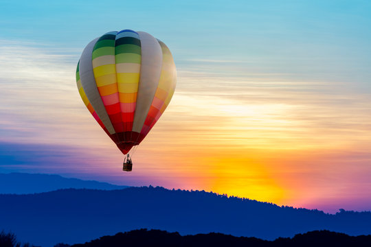 Colorful balloon in the beautiful evening sky
