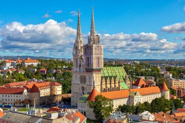 The Zagreb Cathedral on Kaptol. Aerial view of the central square of the city of Zagreb. Capital city of Croatia. Image
