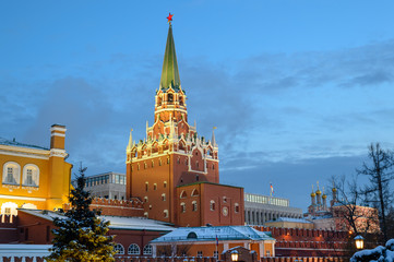 Trinity (Troitskaya) Gate and Tower, the tallest tower of Moscow Kremlin and entrance to the State Kremlin Palace, Moscow, Russia