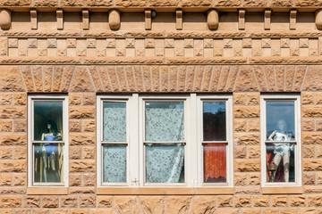 Close up of historic buildings in the center of Deadwood, South Dakota, USA (National historical landmark)