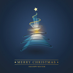 Dark Blue and Golden Merry Christmas, Happy Holidays Card - Golden Christmas Tree Shape Made from Dark Ribbon