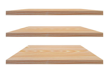 Empty vintage wooden shelf isolated on white background. with clipping path