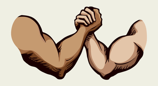 Hand wrestling contest. Vector drawing