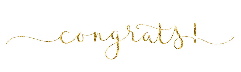 CONGRATS! gold glitter vector brush calligraphy banner with swashes