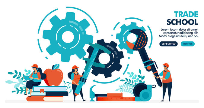 Vector illustration of people learning to repair machines. Trade school or vocational. University or college institution. Vocational education. Design for landing page, web, banner, template, poster