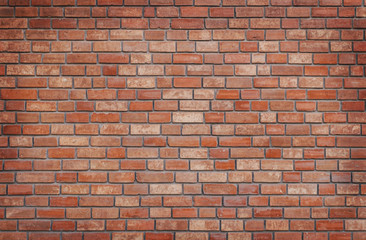 Poster Brick wall Red brick wall with vignette texture background