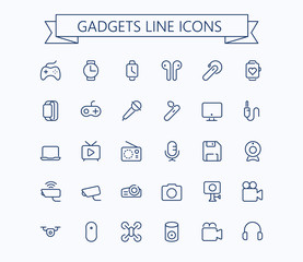 Gadgets line mini icons . Editable stroke. 24x24 px  grid. Pixel Perfect.