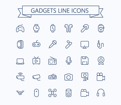 Gadgets line mini icons . Editable stroke. 24x24 px  grid. Pixel Perfect.