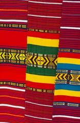 Ethiopian market with local design fabric patterns in Gondar, Ethiopia 2019