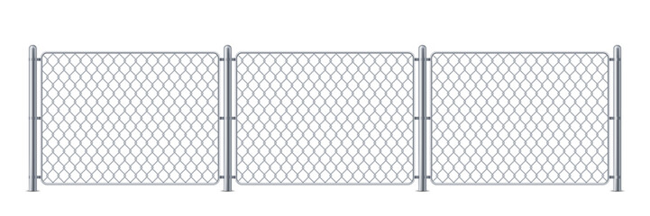 Security metal fence or police steel chain link barrier, wire construction for enclosure for mma or cage, border for concert or protection, chained boundary or net obstacle. Keep or wall, danger gate