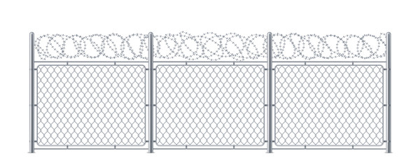Chain link fence with barbed wire. Metal chainlink construction with barbwire or barb, bobbed or bob wire. Steel protection for border security or prison, military or cage. Background or wall, barrier