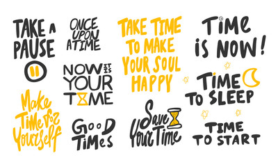 Take, pause, good, time, yourself, self, love, sleep, night, now, start. Vector hand drawn illustration collection set with cartoon lettering.