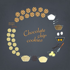 Vector illustration of chocolate chip cookies recipe. Set of elements for baking instruction. Cooking steps with pictures of ingredients and cooked pastries. Colorful bakery icon set for recipe cards.