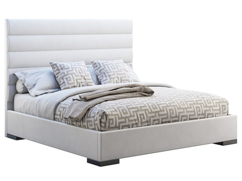 Modern white leather frame double bed with ornate bed linen and plaid. 3d render