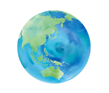 地球の水彩イラストトレースベクター 日本、アジア、オーストラリア、中国、インドネシア、太平洋