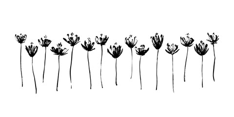 Set of hand drawn abstract modern flowers. Grunge style ink painted elements for design. Black isolated vector on white background