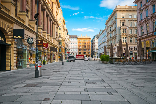 VIENNA, AUSTRIA - JUNE 06, 2017: Graben street and boutique shops in center city