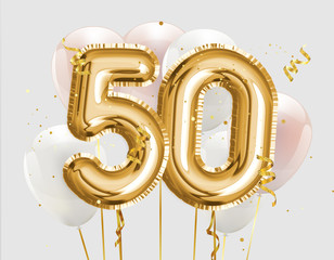 Happy 50th birthday gold foil balloon greeting background. 50 years anniversary logo template- 50th celebrating with confetti. Photo stock.