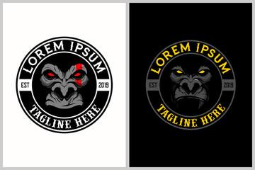 gorilla cartoon character badge logo template