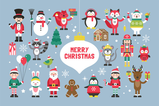 Cute christmas characters and animals for graphic and web design