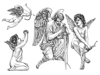 Vintage Angels and Cherubs, hand-drawn, thin and fine lines, statuesque style, black and white