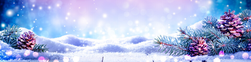 Banner Of Fir Branches And Frosty Pine cones On Snowy Wooden Table - Christmas / Winter
