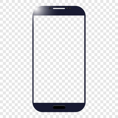 vector image of dark blue realistic touch phone with transparent screen on background