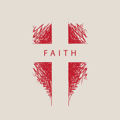 The sign of the abstract hand-drawn cross with the word faith. Religious symbol. Vector illustration. Red pencil drawing