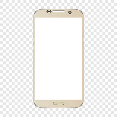 vector image of golden realistic touch phone on background