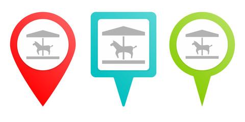 Horse, carousel pin icon. Multicolor pin vector icon