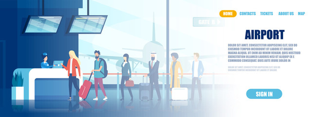 Vector of an airport check in desk and group of international passengers standing in line