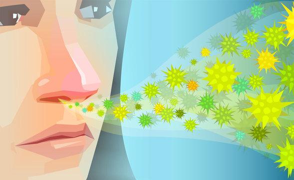 Vector of a woman inhaling pollen, dust hay fever allergens