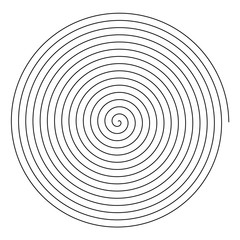 Line in circle form. Single thin line spiral goes to edge of canvas. Vector illustration