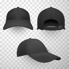 Black baseball caps realistic vector illustrations set