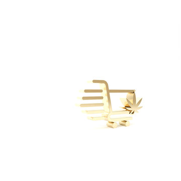 Gold Shopping cart with marijuana or cannabis leaf icon isolated on white background. Online buying. Delivery service. Supermarket basket. 3d illustration 3D render