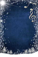 Christmas musical card  with copy space. Vertical image.