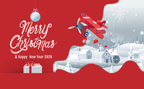 Merry Christmas, Happy New Year 2020, Hometown City, night, Winter Landscape, Vector Illustration.