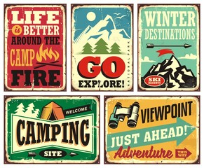 Hiking and camping retro signs collection. Outdoor activities vintage posters set. Wilderness and adventures vector illustration.