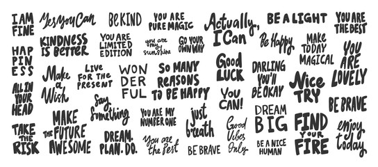 Fine, yes, you, can, happy, make, wonderful, nice, try, find, dream, big, enjoy, way. Vector hand drawn illustration collection set with cartoon lettering.
