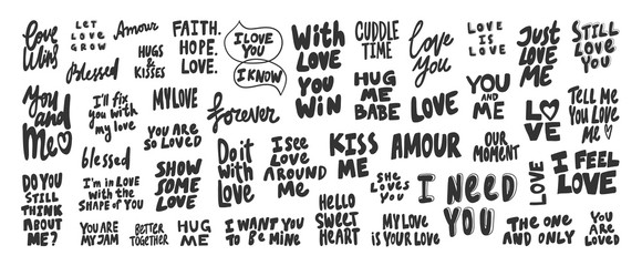 With, love, feel, you, kiss, need, you, win, blessed, forever, amour, faith. Vector hand drawn illustration collection set with cartoon lettering.