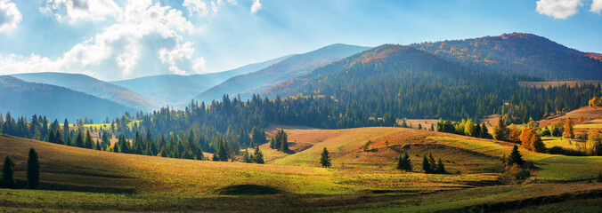 Tuinposter Pool rural area of carpathian mountains in autumn. wonderful panorama of borzhava mountains in dappled light observed from podobovets village. agricultural fields on rolling hills near the spruce forest