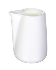 Closeup of a white ceramic creamer or saucier on a white background