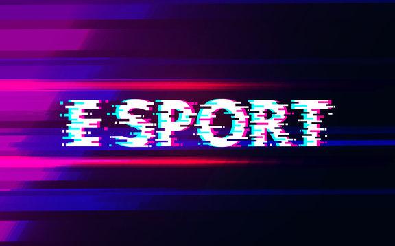 E sport glitch on abstract background design.