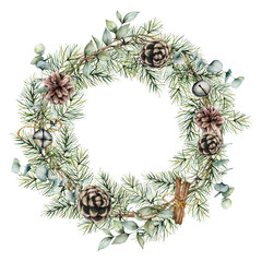 Watercolor Christmas wreath with pine cones decor. Hand painted card with bells, cinnamon, eucalyptus and pine branches isolated on white background. Floral illustration for design or print.